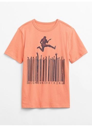 Gap Kısa Kollu Grafik T-Shirt Oranj